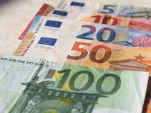 Euro notes, European Union. Euro banknotes money (EUR), currency of European Union, full range including five, ten, twenty, fifty and one hundred euros Stock Photo