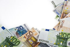 Euro banknotes money. Euro money banknotes of hundreds, twenty, fifty mixed in a frame related to crisis Royalty Free Stock Photos