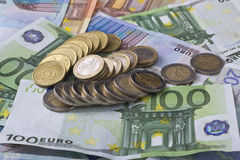 Euro banknotes money. Euro money banknotes of hundreds, twenty, fifty mixedand euro coins related to crisis Stock Image