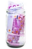 Euro banknotes in money jar Royalty Free Stock Photo