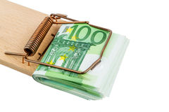 Euro banknotes in mouse trap. Many euro banknotes in a mousetrap. symbolic photo for debt and debt with loans Royalty Free Stock Images