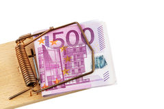 Euro banknotes in mouse trap. Many euro banknotes in a mousetrap. symbolic photo for debt and debt with loans Stock Image