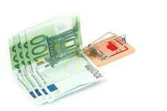 Euro banknotes in a mousetrap Royalty Free Stock Photography