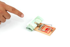 Euro banknotes in a mousetrap Royalty Free Stock Photos