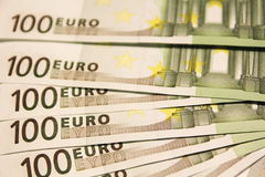 Euro banknotes. Euro notes forming texture background Royalty Free Stock Photography