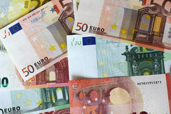 Euro banknotes. Euro notes forming texture background Stock Photo