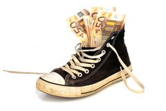 Euro banknotes in an old sneaker Royalty Free Stock Photos