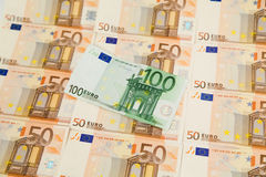 Euro banknotes. One hundred euro banknote on money background Royalty Free Stock Image