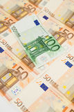 50 and 100 euro banknotes. One hundred and fifty euro banknotes Stock Photo