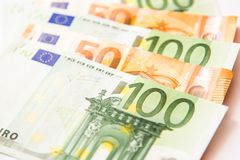 Euro banknotes. One hundred and fifty euro currency banknotes, close up macro Stock Photos