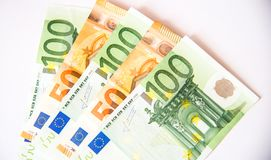 Euro banknotes. One hundred and fifty euro currency banknotes, close up macro Stock Images