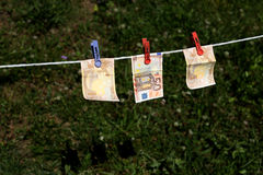 Euro banknotes outdoors Stock Image
