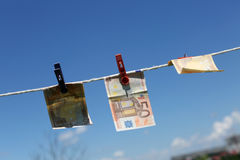 Euro banknotes outdoors Royalty Free Stock Photos