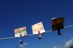 Euro banknotes outdoors Royalty Free Stock Photography