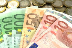 Euro banknotes over white. Euro banknotes of 10, 50, 100 over white Royalty Free Stock Photos