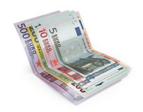 Euro banknotes  over white with clipping path. 3d illust. Ration Royalty Free Stock Image