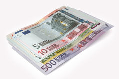 Euro banknotes  over white with clipping path. 3d illust. Ration Stock Image