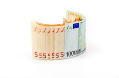 Euro banknotes. Paper euro banknotes on a white background Royalty Free Stock Image