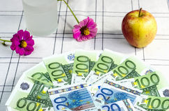 Euro banknotes on a plate Stock Photo