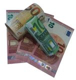 Euro banknotes png isolated. Euro banknotes in rolls 10, 50, 100 euros finance money income isolated Stock Photography