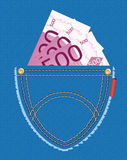 Euro banknotes in the pocket. Vector illustration of euro banknotes in the pocket of blue jeans royalty free illustration