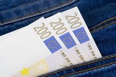 Euro Banknotes on Pocket Royalty Free Stock Photography