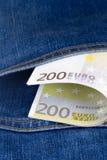 Euro Banknotes on Pocket Royalty Free Stock Photo