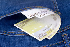 Euro Banknotes on Pocket Royalty Free Stock Images