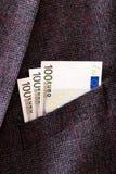 Euro banknotes in pocket closeup Stock Photos