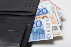 Euro banknotes in purse Royalty Free Stock Image