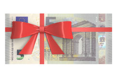 5 Euro banknotes with red bow, gift concept. 3D rendering Stock Images