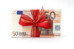 Euro Banknotes with red Ribbon Stock Photography