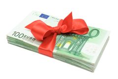 Euro Banknotes with Ribbon Stock Photos