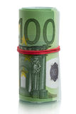 Euro banknotes roll with red rubber Stock Images