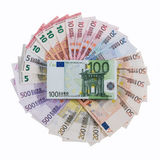 Euro banknotes on roulette theme. Royalty Free Stock Images