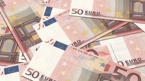 50 euro banknotes in a row stock footage
