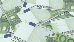 100 euro banknotes in a row Stock Photo