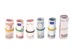 Euro banknotes with a rubber band Stock Photo