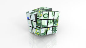 Euro banknotes on rubiks cube unfinished Royalty Free Stock Photos