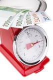 Euro banknotes on the scales. Euro currency in inflation. Stock Photos