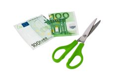 Euro banknotes and scissors Royalty Free Stock Photo
