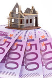 Euro banknotes and shell of a house Royalty Free Stock Photography