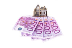 Euro banknotes and shell of a house Royalty Free Stock Image