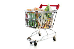 Euro banknotes in shopping cart Stock Photos