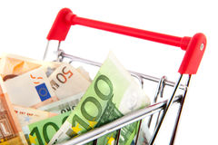 Euro banknotes in shopping cart Stock Image