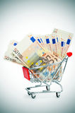 Euro banknotes in a shopping cart Royalty Free Stock Images