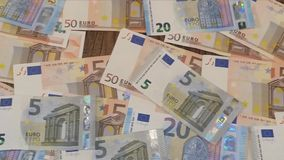 Euro banknotes in short video stock video footage