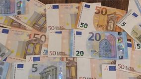 Euro banknotes in short video stock footage