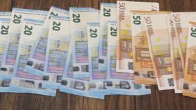 Euro banknotes in short video stock video
