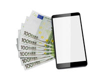 Euro banknotes and smart phone. Stock Photography